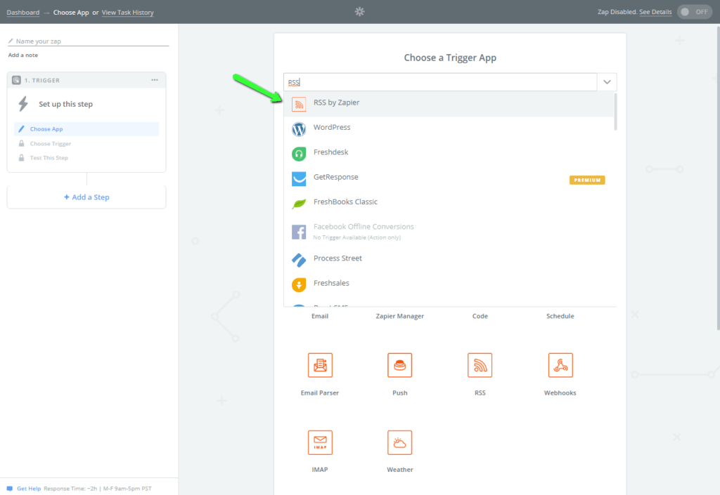 This image shows us searching Zapier trigger apps for the RSS by Zapier app.