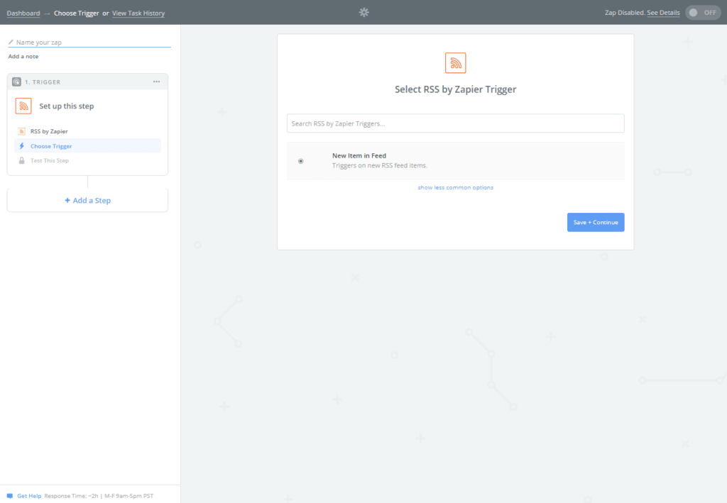 In this image it shows additional trigger options related to the RSS App provided by Zapier.