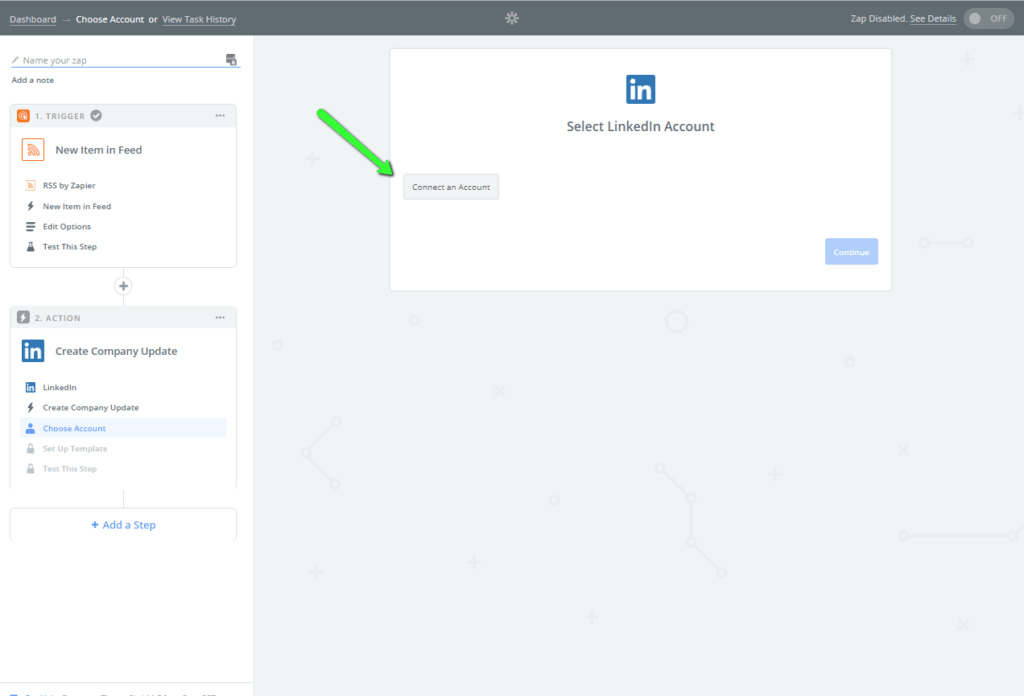 In this image Zapier asks us to connect to a LinkedIn account.