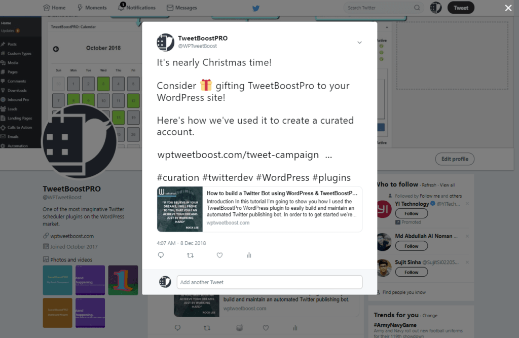 In this image we show our original Tweet to Twitter, proving that we published to both Twitter and LinkedIn using the TweetBoostPRO plugin.